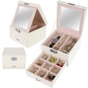 Kuferek, szkatułka na biżuterię - kolor biały