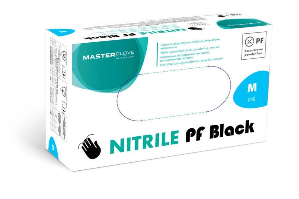 Rękawice nitrylowe Master Glove Nitrile PF Black rozmiar M 100 szt.